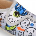 SPACE OKAA design Wool effect cloth Home shoes with hook and loop strap.