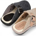 Wool effect OKAA CLOG Home shoes with buckle design.