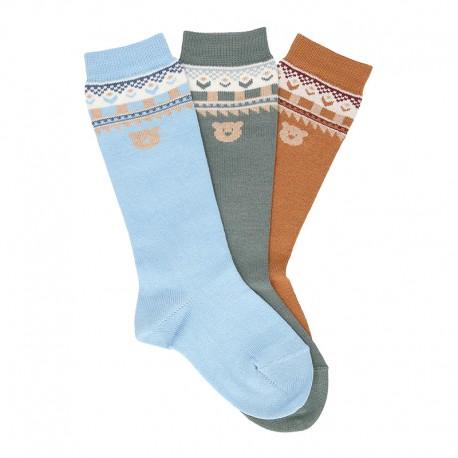 CHILDREN´S CLASSIC TEDDY BORDER KNEE-HIGH SOCKS BY CONDOR.