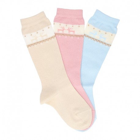 CHILDREN´S CLASSIC REINDEER BORDER KNEE-HIGH SOCKS BY CONDOR.