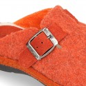 Color Wool effect OKAA CLOG Home shoes with buckle design.