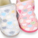 CLOUD print wool knit bootie home shoes with hook and loop strap.