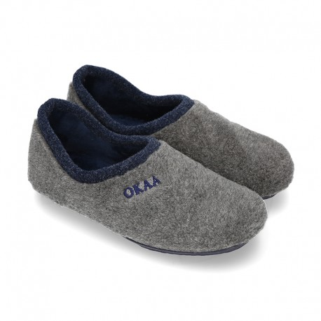 Wool effect dad OKAA Home shoes closed design.