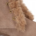 Classic kids suede leather little bootie PASCUALA style with FAKE HAIR design.