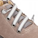Suede leather Kids SPORT ankle boots with elastic laces and toe cap.