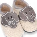 Zapatilla casa niños sin cordones con diseño ELEFANTE.