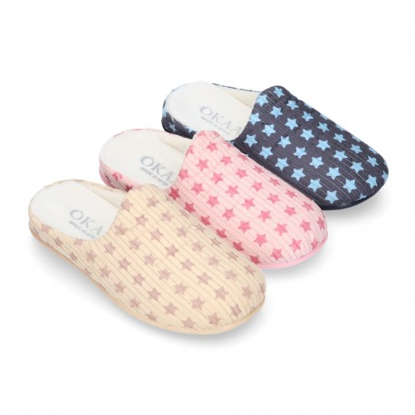 STARS print design corduroy home shoes with opened shape.