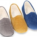 SQUARE design wool knit closed shape kids home shoes.