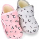 UNICORN print wool knit bootie home shoes with hook and loop strap.