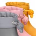 Bota de agua niños BIMBI MC colores sólidos con cuello ajustable.