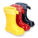 Nautical style rain boots for little kids.