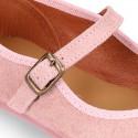 Mercedita niña estilizada en serraje rosa con POMPON.