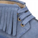 Suede leather Casual little ankle boots with fringed design.