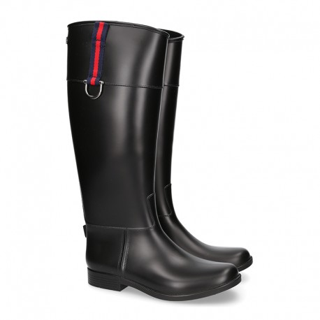 Knee high rain boot shoes ridding style with buckle detail in large sizes.