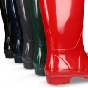 Knee high rain boots in plain colors with glossy finish, in large sizes.