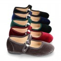 New Velvet canvas Mary Jane shoes with Japanese buckle fastening.