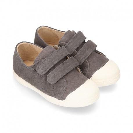 Zapatilla niños tipo bamba sin cordones y puntera en piel serraje GRIS.