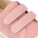 Kids suede leather Tennis type shoes laceless and with toe cap in PINK color.