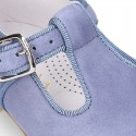 BLUE Soft suede leather little T-Strap shoes with buckle fastening.