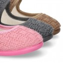 Structured wool knit Home little Mary Jane shoes.