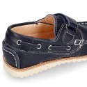 Classic kids leather Boat shoes laces less and spring summer soles.
