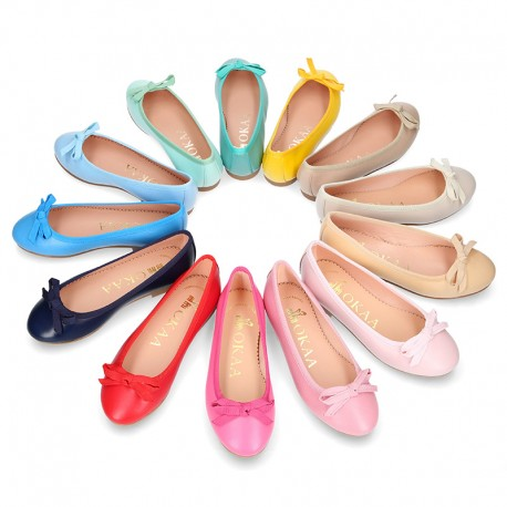 New Extra soft leather ballet flats with ribbon.