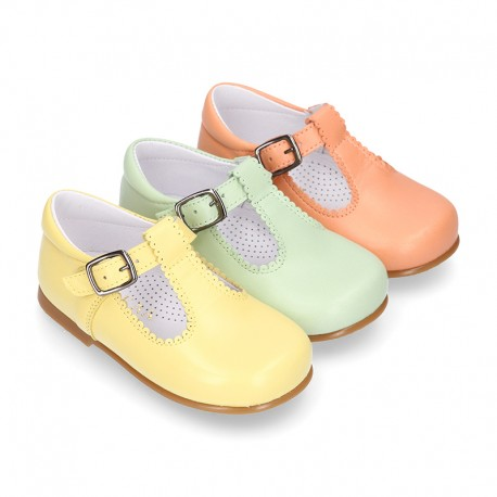 Nappa leather T-Strap shoes with buckle fastening in FASHION colors.