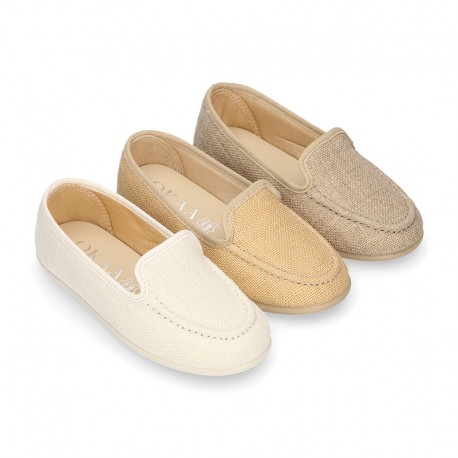 CEREMONY linen canvas Moccasin shoes.