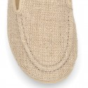 CEREMONY linen canvas Moccasin shoes.