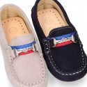 NEW suede leather Moccasin shoes with stirrup detail for little boys.