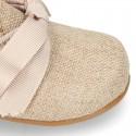 CEREMONY LINEN Laces up shoes for little kids.