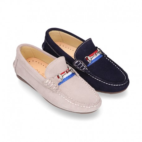 NEW suede leather Moccasin shoes with stirrup and flag details for toddler boys.