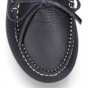 EXTRA SOFT nappa leather moccasin shoes with bows.
