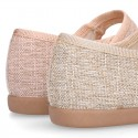 LINEN canvas little Mary Jane shoes with hook and loop strap.