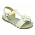 Cowhide Leather Sandal shoes with big flower and buckle fastening.