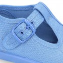 Cotton Canvas Pepito or T-strap shoes with buckle fastening for little kids.