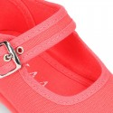 Cotton Canvas Merceditas or little Mary Jane shoes with buckle fastening for little girls.