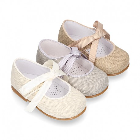 CEREMONY LINEN Little Mary Jane shoes angel style for little girls.