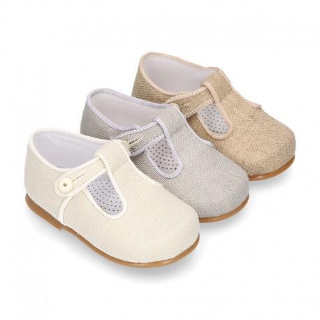CEREMONY LINEN T-strap shoes for little kids.