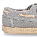 WASHED Cotton Canvas kids Boat shoes espadrille style laceless.