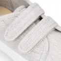 Zapatilla niños sin cordones en lona ALGODÓN RECY para vestir.