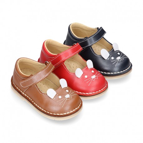 Little MOUSE soft leather Mary Janes with hook and loop strap.