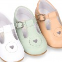 HEART design kids OKAA little T-bar shoes with buckle fastening in soft leather.