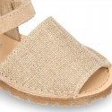 LINEN Canvas Kids Menorquina sandals with hook and loop strap.