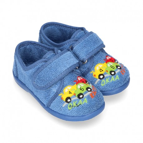 Terry cloth cotton Home shoes with CARS design and hook and loop strap closure.
