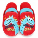 DINOS print Terry cloth Home shoes with elastic strap.
