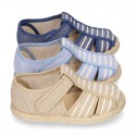 Stripes print Cotton canvas kids Sandal T-Strap espadrille shoes with hook and loop strap.