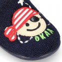 PIRATE print Terry cloth Home shoes with elastic strap.