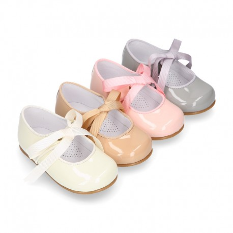 Classic Little Mary Janes angel style in patent leather and pastel colors.