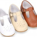 Chopped design kids OKAA little T-bar shoes with buckle fastening in nappa leather.